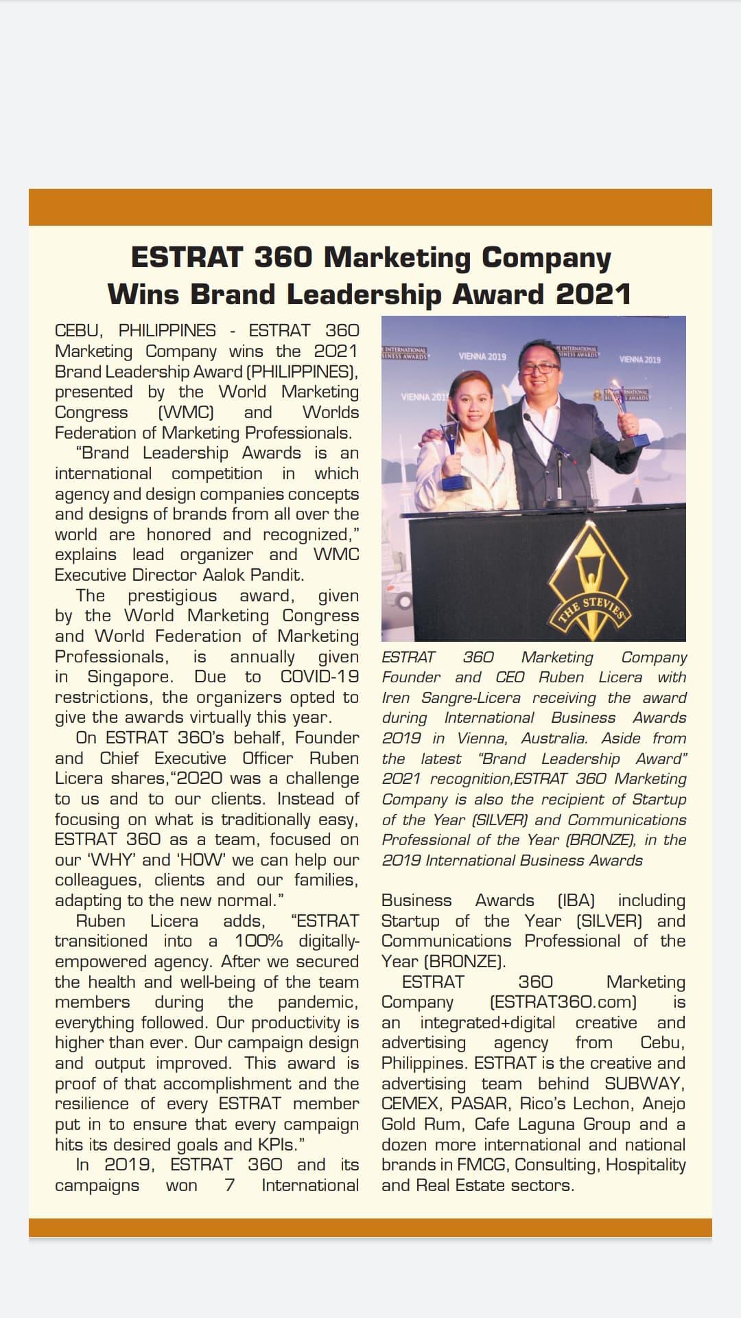 ESTRAT Feature in BusinessWorld